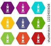 stone beacon icons 9 set... | Shutterstock .eps vector #1222400608