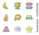 deep sleep icons set. cartoon... | Shutterstock .eps vector #1222401685