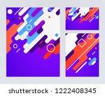 memphis style cards geometric... | Shutterstock .eps vector #1222408345