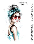 hand drawn beautiful young... | Shutterstock .eps vector #1222413778