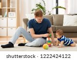 family  fatherhood and people... | Shutterstock . vector #1222424122