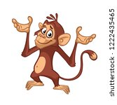 cute cartoon monkey chimpanzee. ... | Shutterstock .eps vector #1222435465