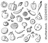 hand drawn set of fruits and... | Shutterstock .eps vector #1222435552