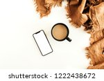 mug of coffee with milk  ginger ... | Shutterstock . vector #1222438672