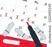 a calendar with the menstrual...   Shutterstock .eps vector #1222455145