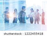 business team members working...   Shutterstock . vector #1222455418