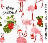 christmas flamingo seamless... | Shutterstock .eps vector #1222455445