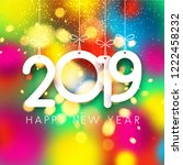 colorful shiny 2019 happy new... | Shutterstock .eps vector #1222458232