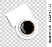 cup with coffee and plate... | Shutterstock . vector #1222463422