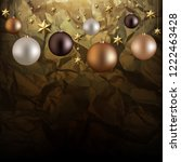 christmas garland with ball and ... | Shutterstock . vector #1222463428