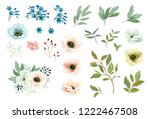 collection of floral elements ... | Shutterstock .eps vector #1222467508