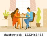 cute romantic couple sitting at ... | Shutterstock .eps vector #1222468465