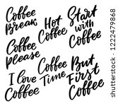 hand drawn coffee lettering set ... | Shutterstock .eps vector #1222479868