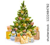 vector christmas tree with... | Shutterstock .eps vector #1222484782