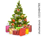 vector christmas tree with... | Shutterstock .eps vector #1222484785