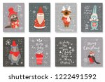 set of cute cards with hand... | Shutterstock .eps vector #1222491592