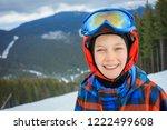 portrait of cute happy skier...   Shutterstock . vector #1222499608