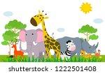 group of animals safari | Shutterstock .eps vector #1222501408