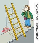 a man walks under a ladder... | Shutterstock .eps vector #1222505692