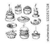 finger food vector drawings.... | Shutterstock .eps vector #1222517128