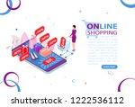 online shopping concept. ... | Shutterstock .eps vector #1222536112