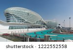 Small photo of ABU DHABI, UAE - JANUARY 23, 2016: Yas Viceroy Hotel and Yas Marina Circuit, Abu Dhabi. The circuit is the venue for the Abu Dhabi Formula One Grand Prix and runs between two hotel buildings