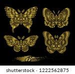 stylised golden butterflies on... | Shutterstock .eps vector #1222562875
