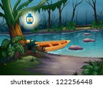 illustration of a canoe in a...   Shutterstock .eps vector #122256448