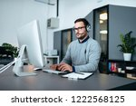 young male customer support... | Shutterstock . vector #1222568125