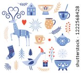 winter vector collection   flat ... | Shutterstock .eps vector #1222568428