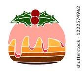 birthday dessert cake isolated  ... | Shutterstock .eps vector #1222574962
