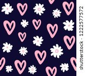 repeated flowers and hearts... | Shutterstock .eps vector #1222577572