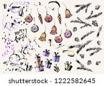 hand drawn ink christmas and... | Shutterstock .eps vector #1222582645