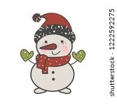 snowman in a red cap and scarf. ... | Shutterstock .eps vector #1222592275