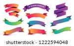 set of colorful and fun ribbon... | Shutterstock .eps vector #1222594048