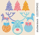 set of christmas design... | Shutterstock .eps vector #1222595452