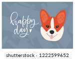 face of cute funny corgi dog... | Shutterstock .eps vector #1222599652