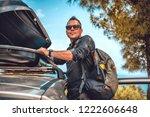 man wearing black denim shirt... | Shutterstock . vector #1222606648