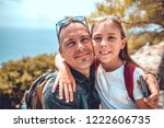 portrait of father and daughter ... | Shutterstock . vector #1222606735