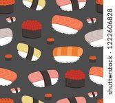 seamless pattern of sushi... | Shutterstock .eps vector #1222606828