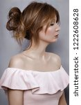 Stock photo beauty portrait of young adult woman dressed pale pink dress with flounces 1222608628