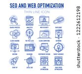 seo and web optimization line... | Shutterstock .eps vector #1222612198