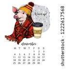 year calendar with pig. monthly ... | Shutterstock .eps vector #1222617568