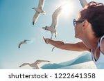 woman wearing sunglasses... | Shutterstock . vector #1222641358