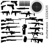 Постер, плакат: silhouettes of weapons guns