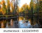 autumn forest river landscape....   Shutterstock . vector #1222654945