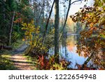 autumn forest river path view....   Shutterstock . vector #1222654948