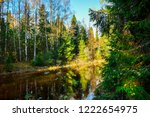 autumn forest river landscape....   Shutterstock . vector #1222654975