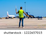 dispatcher geaturing signs... | Shutterstock . vector #1222657015