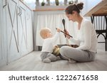 mom and baby playing together... | Shutterstock . vector #1222671658